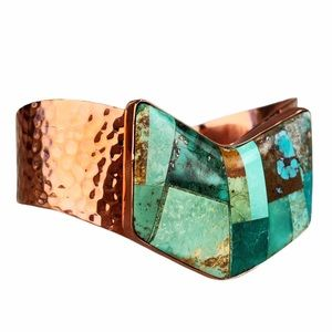 VTG Jay King Turquoise Inlay Hammered Cooper Cuff